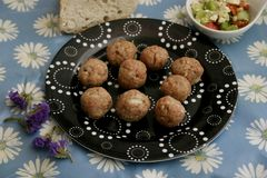 Raw meatballs. Some raw meatballs of minced meat of pork and beef royalty free stock photography