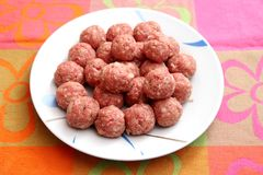 Raw meatballs. Some raw meatballs of pork minced meat royalty free stock photos