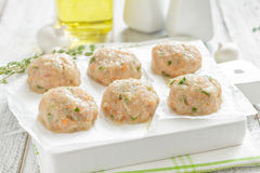 Raw meatballs Royalty Free Stock Image