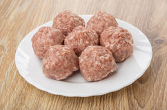 Raw meatballs in white glass plate on table Royalty Free Stock Images
