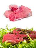 Raw meats   with salad and pepper and alone Stock Image