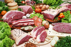 Raw meats with spices Royalty Free Stock Photo