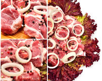 Raw meet pieces with sliced onion and black pepper Stock Photography