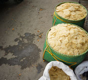 Raw Melinjo Cracker sells in traditional market photo taken in Bogor Indonesia Stock Photography