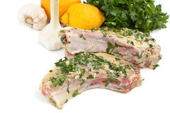 Raw Mexican Citrus Pork Chops Close Up Royalty Free Stock Photography