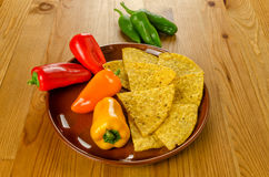 Nachos with peppers Stock Images