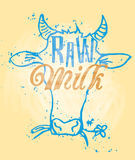 Raw Milk. Signage in a Cow Head vector illustration