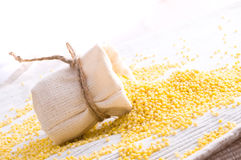 Raw Millet in small sack Royalty Free Stock Photography