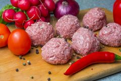 Raw mince patties in a cooking . cutlets are prepared for cutting board royalty free stock photos