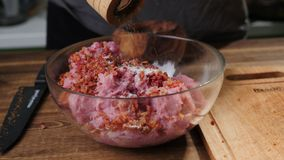 Raw mince roast in a pan. stock image