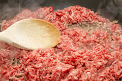 Raw mince starting to brown Royalty Free Stock Images