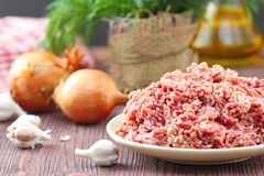 Raw minced beef in a bowl. Fresh raw minced beef in a bowl Stock Photography
