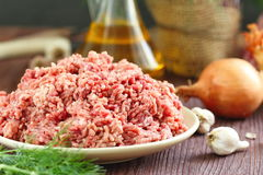 Raw minced beef in a bowl. Fresh raw minced beef in a bowl Royalty Free Stock Images