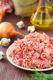 Raw minced beef in a bowl. Fresh raw minced beef in a bowl Stock Images