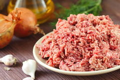 Raw minced beef in a bowl. Fresh raw minced beef in a bowl Royalty Free Stock Photography