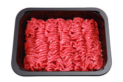 Raw minced beef in brown plastic container Royalty Free Stock Photography