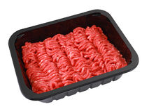 Raw minced beef in brown plastic container Stock Photo