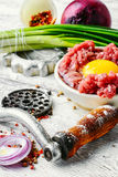 Raw minced beef. Dish of raw minced beef meat and parts of meat grinder Stock Image