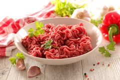 Raw minced beef. With ingredients Royalty Free Stock Photos
