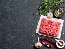 Raw minced beef on light gray cement background. Fresh raw minced beef on backing paper and cutting board and ingredients over dark blue background with copy Stock Images