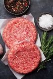 Raw minced beef meat for home made burgers. Raw minced beef meat for home made grill burgers cooking with spaces and herbs. Top view Stock Images
