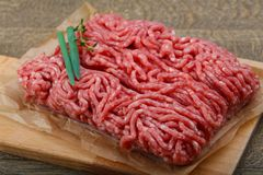 Minced beef. Raw Minced beef with onion ready for cooking Royalty Free Stock Photography