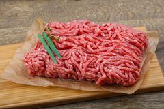Minced beef. Raw Minced beef with onion ready for cooking Stock Images
