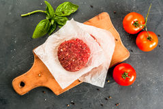 Raw minced beef steak burger Royalty Free Stock Photo