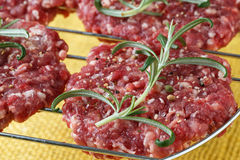 Raw minced hamburger meat with herb and spice Stock Photography