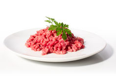 Raw minced meat. Isolated on white stock photography