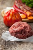 Raw minced meat and Royalty Free Stock Photos