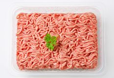 Raw minced meat. In package Royalty Free Stock Images