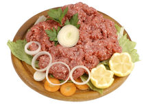 Raw minced meat. Raw meat on a cutting board isolated on white Stock Photography