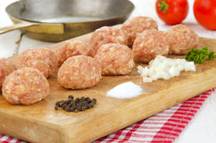 Raw minced meat balls Stock Photos
