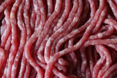 Raw minced meat beef. Close up macro Raw minced meat in detail Stock Photo