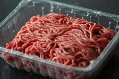 Raw minced meat beef. Close up macro Raw minced meat in detail Royalty Free Stock Photography