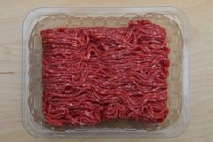 Raw Minced Meat. In a Black Plastic Container Royalty Free Stock Images