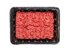 Raw Minced Meat in a Black Plastic Container Stock Photography