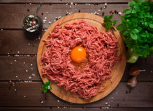 Raw minced meat with egg Royalty Free Stock Photography