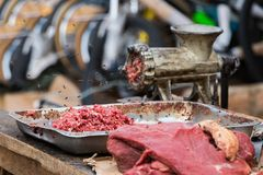 Raw minced meat and a grinder with flies outdoors in Madagascar. Raw minced meat and a grinder with flies outdoors in Toliara, Madagascar stock image