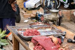 Raw minced meat and a grinder with flies outdoors in Madagascar. Raw minced meat and a grinder with flies outdoors in Toliara, Madagascar royalty free stock image