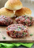 Raw minced meat for hamburgers Royalty Free Stock Images