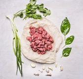 Raw minced meat with herbs on paper and garlic wooden rustic background top view. Raw minced meat with herbs on paper and garlic on wooden rustic background top Stock Photos