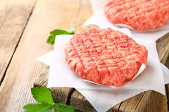 Raw minced meat for home made grill burgers cooking with spaces. And herbs stock photo