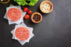 Raw minced meat for home made grill burgers cooking with spaces and herbs. Raw minced meat for home made grill burgers cooking with spaces and herbs stock photography