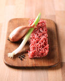 Raw minced meat and onion. Raw minced meat and other ingredients on a cutting board Royalty Free Stock Photography