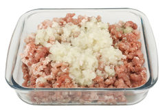 Raw minced meat with onion Royalty Free Stock Image