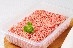 Raw minced meat. In package Stock Photos