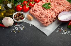 Raw minced meat on paper with fresh vegetables and spices on black background. Selective focus Royalty Free Stock Images