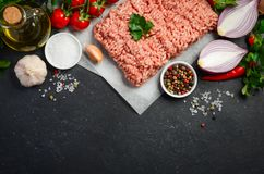 Raw minced meat on paper with fresh vegetables and spices on black background. Top view copy space Royalty Free Stock Photos